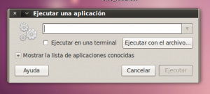Detalle de ventana para ejecutar aplicación en gnome